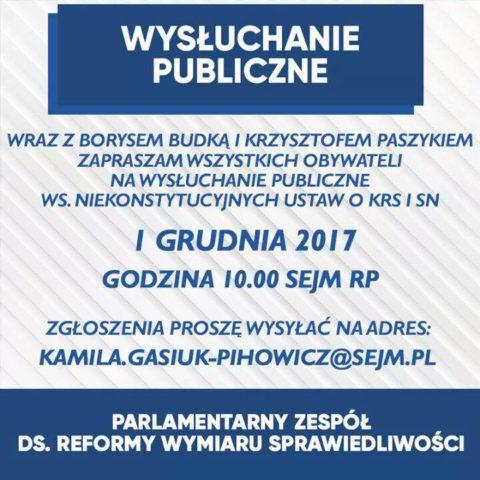 WYSŁUCHANIE PUBLICZNE ws. ustaw o KRS i SN!