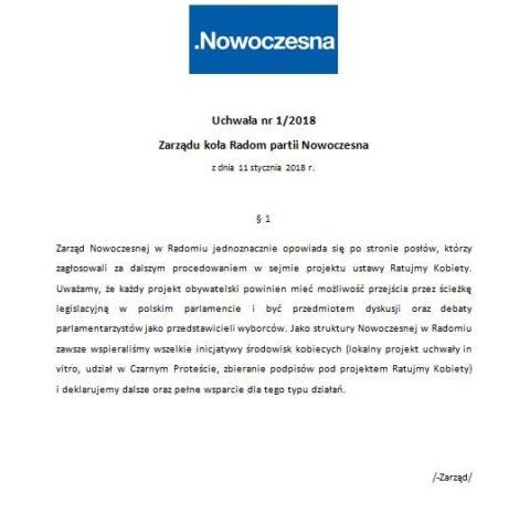 """Uchwała Zarządu w Radomiu w sprawie projektu ustawy """"Ratujmy Kobiety""""."""