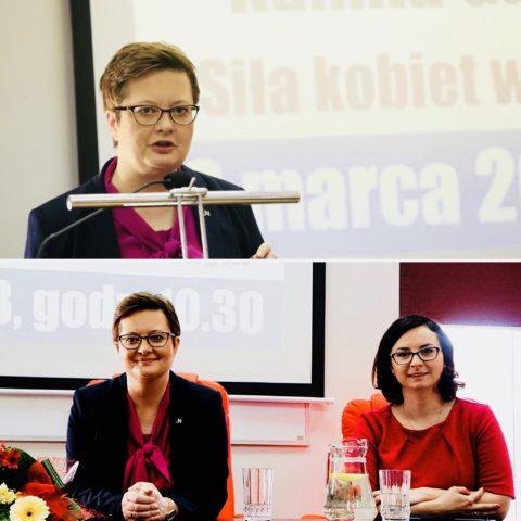 Katarzyna Lubnauer i Kamila Gasiuk-Pihowicz na Wykładzie Otwartym w WSH w Radomiu.